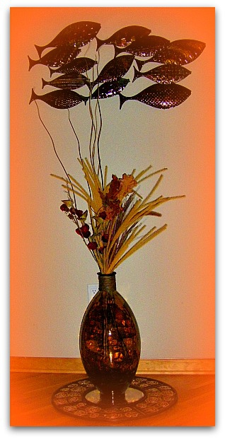 fish decor and vase